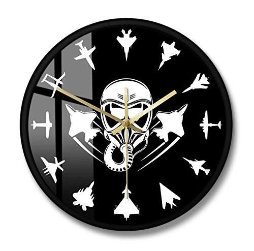 Aviones A Reacción Militares Reloj De Pared Moderno Jet Fighter Reloj De Pared Silencioso Aviación Arte De Pared Aviones Aéreos Aviador Decoración Del Hogar Regalo De Piloto-Marco De Metal