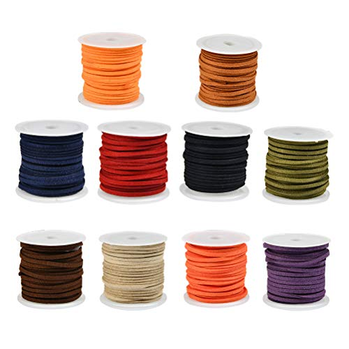 YANSHON 10 Rolls 3mm Leather Cord for Jewellery Making, 5m Faux Leather String Thread for Bracelets, Necklaces, Beading, Anklet Craft Making