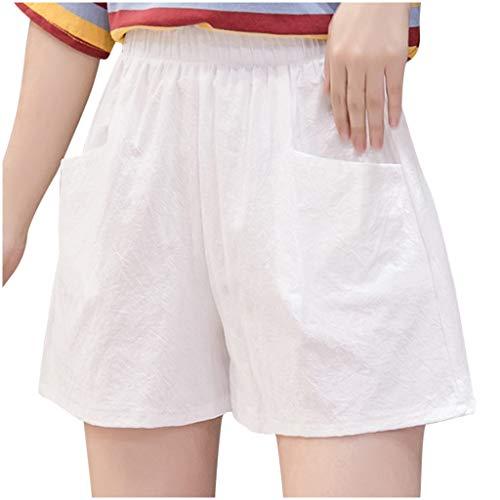 Y2K All-Match Hot Pants korte broek voor dames, korte broek, katoen, linnen, strandshort, elastische tailleband met trekkoord, zakken, ideale keuze aan zomershorts