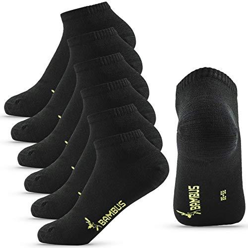 Happy Bavaria 6 Paar Sneaker Socken Herren 39-42 Bambus schwarz Bambussocken Damen schwarz Herrensocken 39-42 Füßlinge Sneaker (schwarz, 39-42)