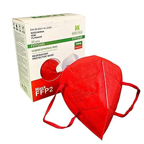 Weikang 20 Mascarillas FFP2 de colores. Certificadas CE Italia Adultos. Mascarilla FFP2 sanificada y empacada de forma individual (Rojo)