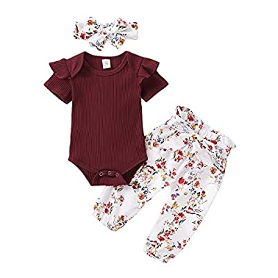 Newborn Baby Girl Clothes Long Sleeve Bodysuits Romper Floral Halen Pants Outfit Set (A-Wine Red Floral Sets, 3-6 Months)