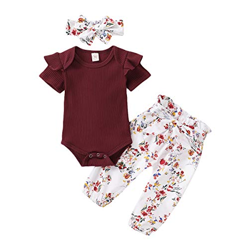 Newborn Baby Girl Clothes Long Sleeve Bodysuits Romper Floral Halen Pants Outfit Set (A-Wine Red Floral Sets, 0-3 Months)
