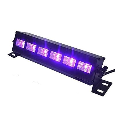 UV LED Bar, Indmird Black Lights with 3W x 6 LEDs UV Bar for Parties Halloween Club Metal Housing