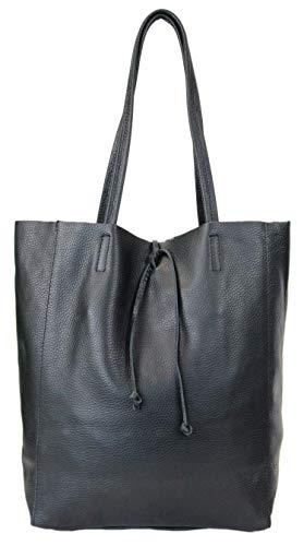 irisaa Damen Leder Shopper XXL Schultertasche mit Kordezug Handtasche Leichtgewicht mit Leder Innentasche für Arbeit Uni Schule Soft Damenhandtasche aus Italien, Damen Tasche:Schwarz