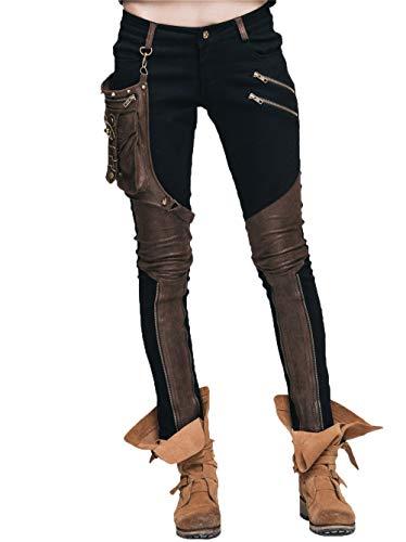 Devil Fashion Steampunk Leggings voor dames patchwork schedel broek stretch skinny stitching broek met een PU leren tas