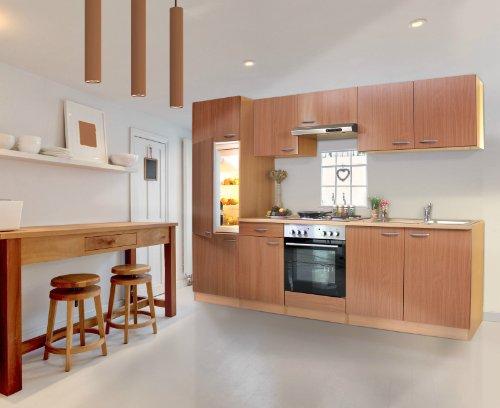 respekta KB270BBE Küche Küchenzeile Einbauküche Küchenblock 270 cm Buche mit Einbaukühlschrank, Einbauspüle, Einbau Herd-Set, Unterbaudunstabzugshaube