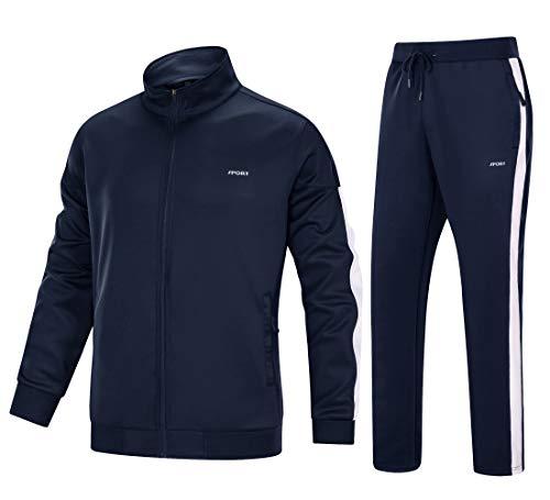 MAGNIVIT Men's Sweat Tracksuit Athletic Sports Jacket and Pants Set Navy Blue