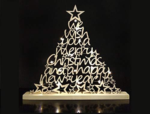 Generico Albero di Natale in Legno + 20 Luci LED Incluse, Tagliato a Laser, 100% Legno Naturale, 51x46 Centimetri, Regalo di Natale, Idea Regalo.