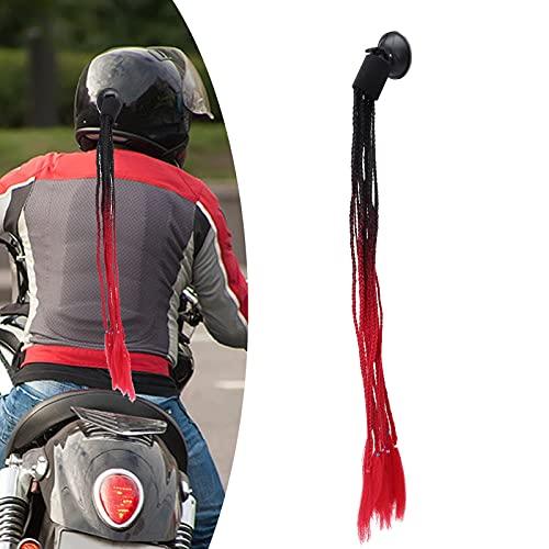 Cabello de casco, fuerza de succión fuerte Trenzas de casco de motocicleta Aspecto fresco Cómodo de pegar para casco de scooter para casco de motocicleta(Black and red)