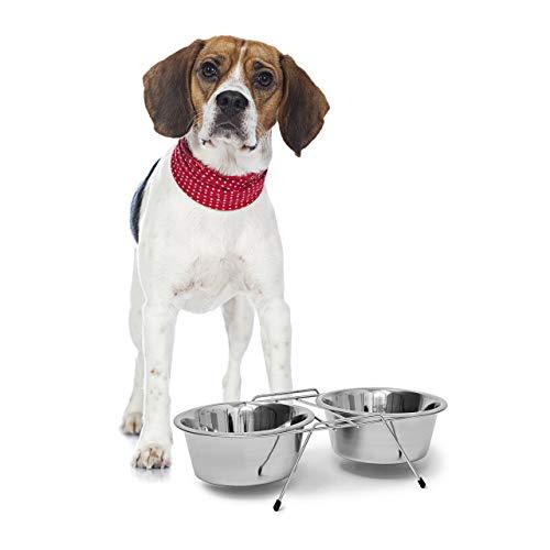 Relaxdays Feeding Bowl Set Comedero Doble para Perros y Gatos, Plateado, 19x35x8.5 cm ⭐