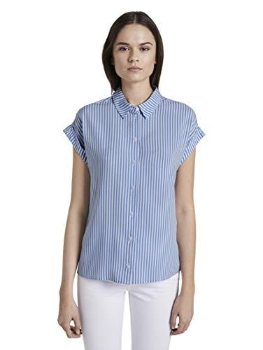 TOM TAILOR Damen Blusen, Shirts & Hemden Kurzärmlige Bluse mit Kent-Kragen Stripe Vertical Blue,42