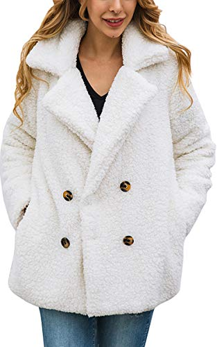 ECOWISH Womens Double Breasted Lapel Open Front Fleece Coat with Pockets Outwear White XL