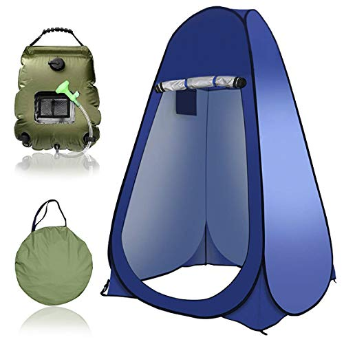 Instant Portable Outdoor Shower Tent, Shower Bag Camping 5 Gallon with Carrying Bag, Easy Set Up Foldable with Carry Bag, Outdoor Camping Dressing Room Toilet,2.Dark Blue
