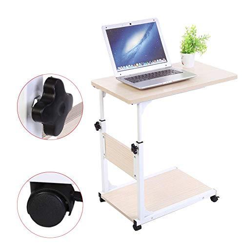 Pflegetisch, 2-schichtig Verstellbarer Laptop-Tisch Rolltisch Sofatisch Beistelltisch mit Rollen, 50 * 35 * 55-80cm (Weißer Ahorn)