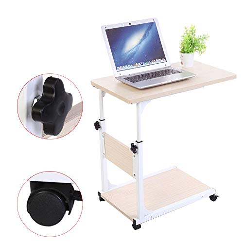 EBTOOLS Pflegetisch, 2-schichtig Verstellbarer Laptop-Tisch Rolltisch Sofatisch Beistelltisch mit Rollen, 50 * 35 * 55-80cm (Weißer Ahorn)