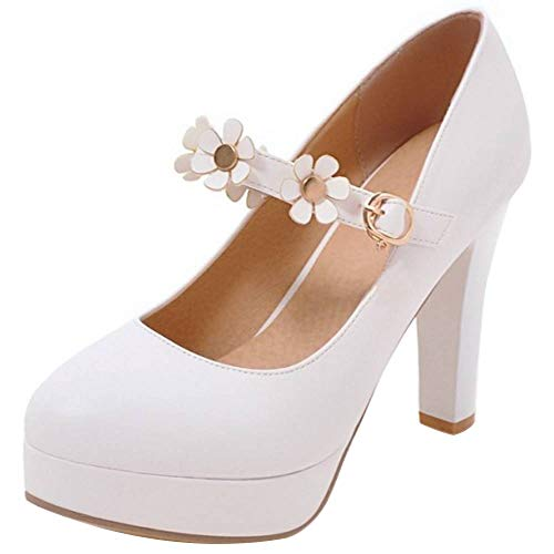 RAZAMAZA Mujer Tacón Ancho Bombas Zapatos Plataforma Flores White Size 38 Asian