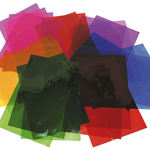 Baker Ross Bunte Cellophan-Blätter für Kinder zum Basteln für Dekorationen, Geschenke und die Schule - 36 Stück