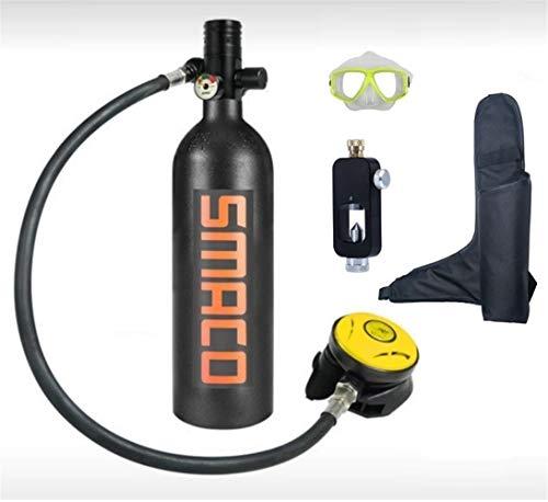 QPLKL Scuba Gear Equipo de Buceo Mini Cilindro de Buceo Tanque de oxígeno for Buceo Gran Capacidad 1L Respiración bajo el Agua Durante 15 a 20 Minutos por Buceo bajo el Agua