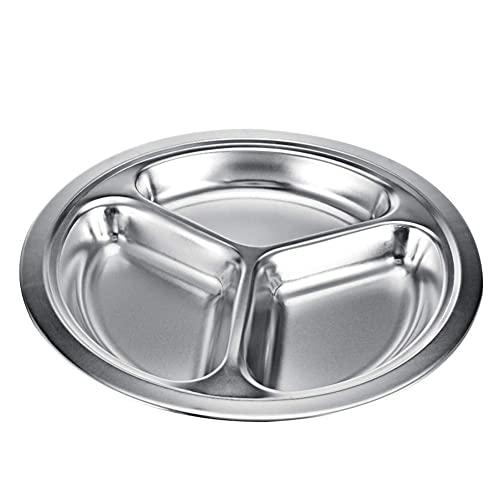 AADEE Plato redondo de acero inoxidable, vajilla de alta calidad, apto para lavavajillas, utilizado para alimentos en jardín de infantes y comedores escolares, barbacoa al aire libre