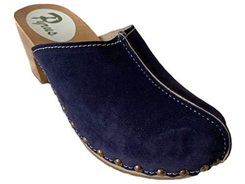 GreenPyrus 0171 Zuecos Zapatillas Zapatos de Cuero para Mujer, Azul Marino, EU 36