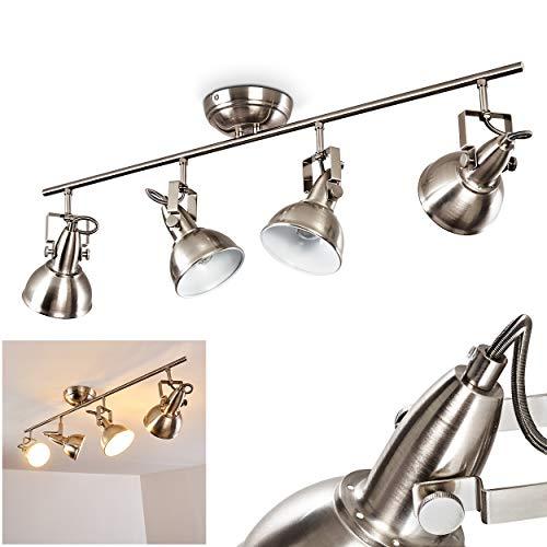 Plafondlamp Tina, metalen plafondlamp in mat nikkel/wit, 4-vlam, met verstelbare spots, 4 x E14 stopcontact, max. 40 Watt, spot in retro/vintage uitvoering, geschikt voor LED-lampen