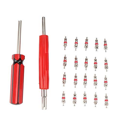 Vokmon 20PCS / Set de válvulas Núcleos + Dual de una Sola Cabeza de la válvula Principal removedor de Coches Moto neumático de la Bici reparación de Herramientas