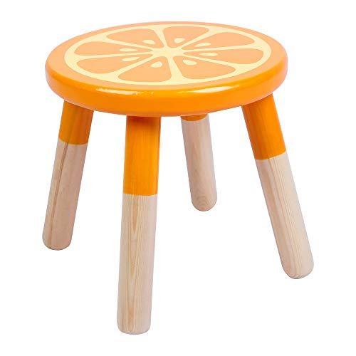 RUYU 9 Inch Kids Solid Hard Wood Fruit Chair, Crafted Hand-Painted Wood with Assembled Four-Legged Stool, Bedroom, Playroom, Orange Furniture Stool for Kids, Children, Boys, Girls(Orange)