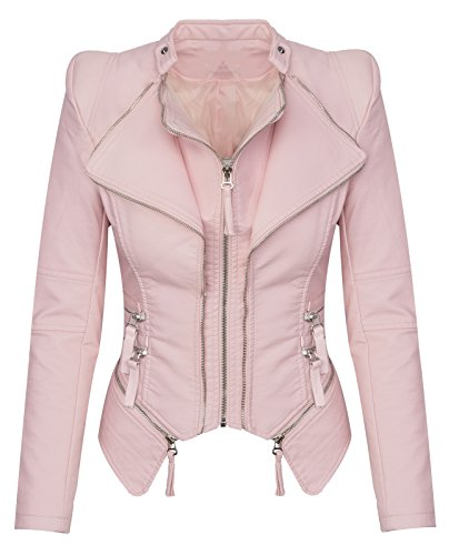 Damen Kunstleder Jacke bergangs Jacke Leder Optik Bikerjacke D-166, Pink, L