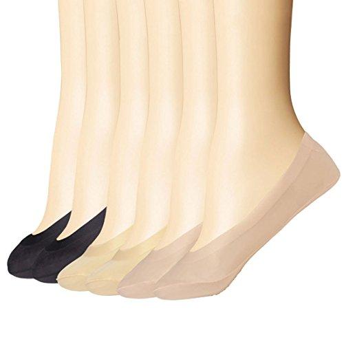 Everbellus 6 Paar Damen No Show Socken Low Cut Flachboot Linie Socken (Schwarz & Beige & Braun)