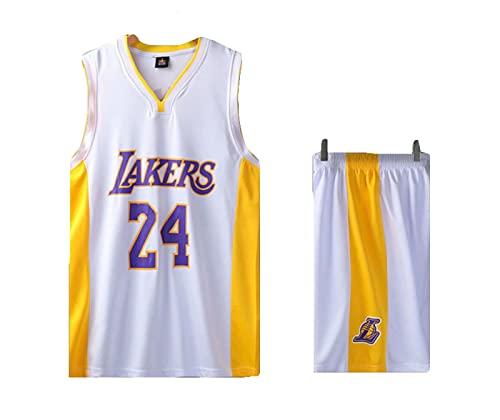 Lakers # 24 Men's Basketball Tank Top Y Shorts Set Flow Basketball Jerseys Uniform Entrenamiento Sudaderas White-XL