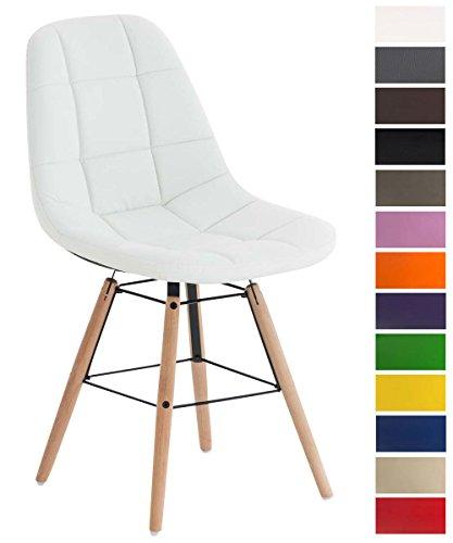 CLP Esszimmerstuhl Tammy mit Kunstlederbezug | Lehnstuhl mit Buchenholzgestell | Polsterstuhl | Sitzhöhe: 47 cm Weiß