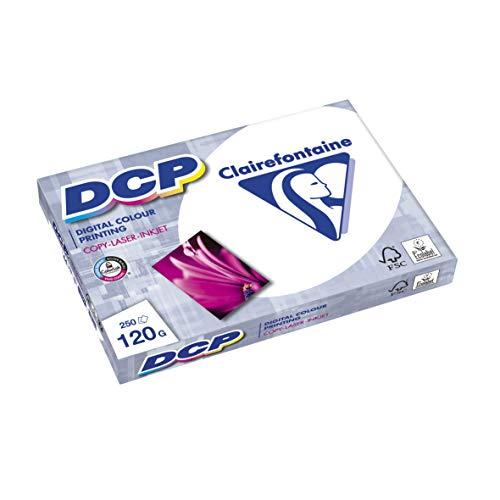 Clairefontaine 1844C DCP Druckerpapier (250 Blatt in DIN A4 mit 120 Gramm/Premium Kopierpapier für farbintensiven Bilderdruck) weiß