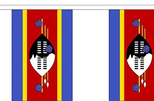 FlagSuperstore© Wimpelkette, Swasiland, 9 m, Polyester, 30 Flaggen pro 9 m Länge