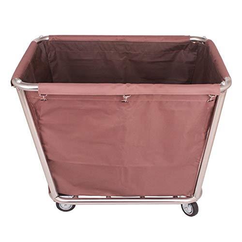 Küchenwagen Wäschewäschewagen mit Rädern, Hochleistungs-Stahlwäschesortierkorb, für Heimhotel Salon, Größe: 90 × 65 × 80 cm (Color : Brown)