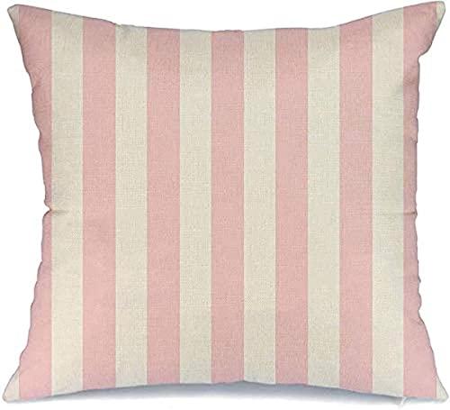 Funda de Almohada Decorativa de poliéster Líneas gráficas Blanco Rosa Escritorio Rayas Simetría Color Paralelo Lotes Texturas de diseño Cojín Cuadrado simétrico Funda de Almohada, 16'x 16'