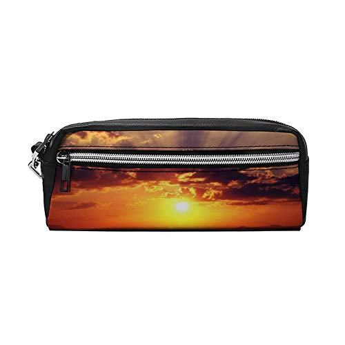 Meest Mooie Zonsondergang Foto's PU Lederen Potlood Case Make-up Tas Cosmetische Tas Potlood Tas met Rits Reizen Toilettas voor Vrouwen Meisjes