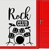 Tambores Silueta Mural De Pared Rock Club Decoración Decoración De Moda Instrumento De Música Batería Set Kits Etiqueta De La Pared Fondo De Pantalla 42X59Cm