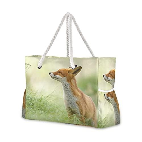 Bolsa de playa Serie Zen Fox – Bolsa de hombro para piscina, asas de cuerda con cremallera bolsillos de gran capacidad para viajes, playa, gimnasio