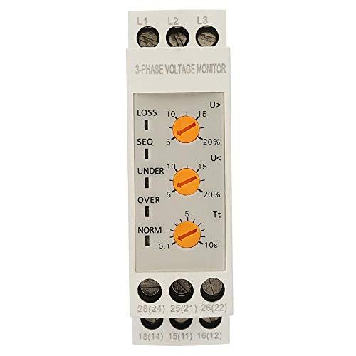 Stromkreisschutz 35mm Schiene Dreiphasige 5 LED Überspannungsschutz Spannungsrelais 399-456VAC für Elektromotorenlüfter