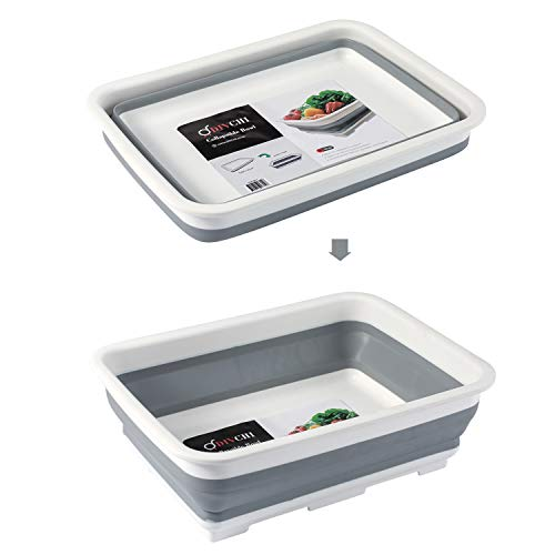DIVCHI Folding Washbasin Collapsible Washing Up Bowl Retractable Portable Thickened Travel Washbasin Wash Foam Foot Travel Outdoor Car Laundry Washing Basin (Grey/White)