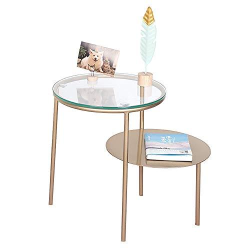 OUPAI MESAS 2tier almacenamiento de hierro forjado mesa lateral, una pequeña mesa de café sofá de la sala lateral Mesita de noche mesita Mesa auxiliar de vidrio templado mesa redonda Pequeño para el d