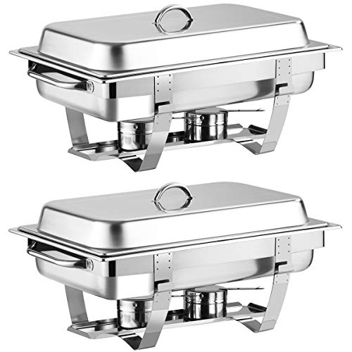"""Giantex 2 Packs Chafing Dish 9 Quart Chafer Dishes Buffet Set Stainless Steel Rectangular Chafing Dish Set Full Size with 2 Half Size Pan (23.5""""Lx 14""""Wx12""""H (9 Quart))"""