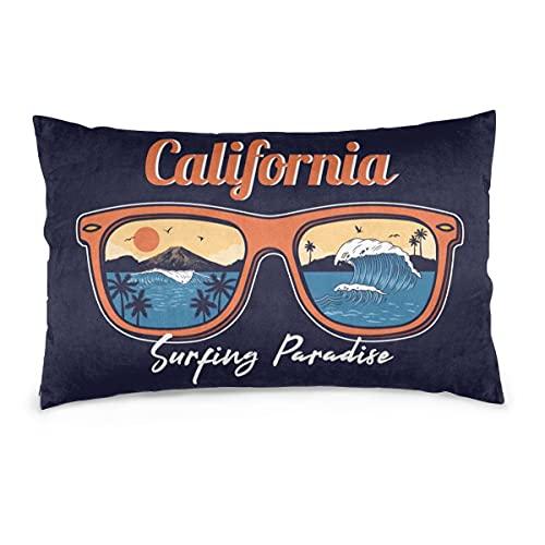 Fundas de Almohada 16X24 Pulgadas Gafas de Sol de Verano Reflectante Ola oceánica Mar Playa Surfing Paradise Throw Pillow Fundas Sofá Coche Funda de cojín Decorativo para el hogar 40X60CM