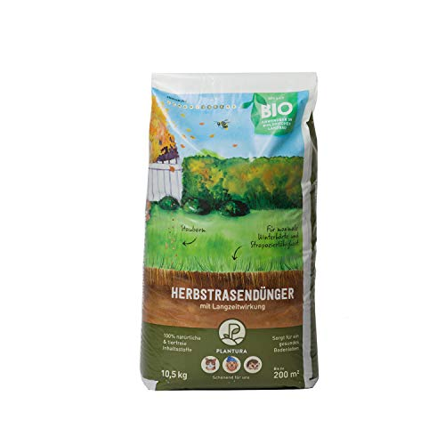 Plantura Bio Herbstrasendünger mit Langzeit-Wirkung, 10,5 kg, für maximale Winterhärte, idealer Dünger für den Rasen im Herbst, unbedenklich für Hund, Haus- & Gartentiere, Rasendünger, Langzeitdünger