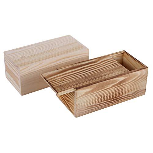 Angoily 2 Piezas Caja de Regalo de Madera Rústica Tapa Deslizante Caja de Almacenamiento de Joyería de Bricolaje Cajas de Madera de Recuerdo Vitrina de Joyería Regalos