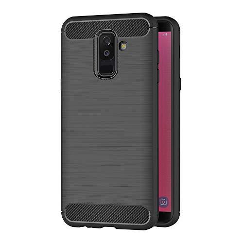 AICEK Coque Samsung Galaxy J8 2018, Noir Silicone Coque pour Samsung J8 2018 Housse Fibre de Carbone Etui Case (6,0 Pouces)