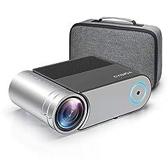 Projector, Vamvo Mini Beamer Full HD, Projector 1280*720P met draagtas Ondersteund 1080P Multimedia LED 50000 uur Home Theater en Voetbalspel Plezier compatibel met HDMI/VGA/USB/AV*