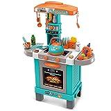 TikTakToo Spielküche mit Licht, Sound, Wasserkessel (echter Dampf) Teekessel türkis/orange Kinderküche Küche für Kinder Kinderzimmer Puppenküche Koch Köchin Backofen Spüle