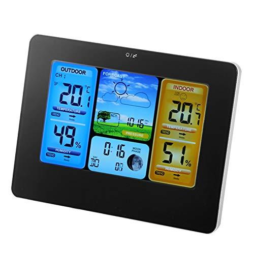 Reloj meteorológico inalámbrico, retroiluminación, termómetro de visualización de tendencias de humedad, interior digital, 6 tendencias meteorológicas, reloj(Unisex-black)
